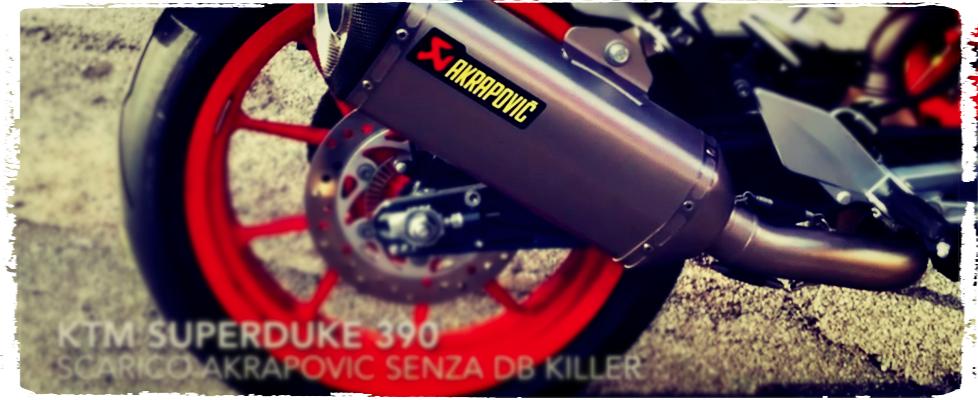 KTM Super Duke 390 Akrapovic sound senza DB killer