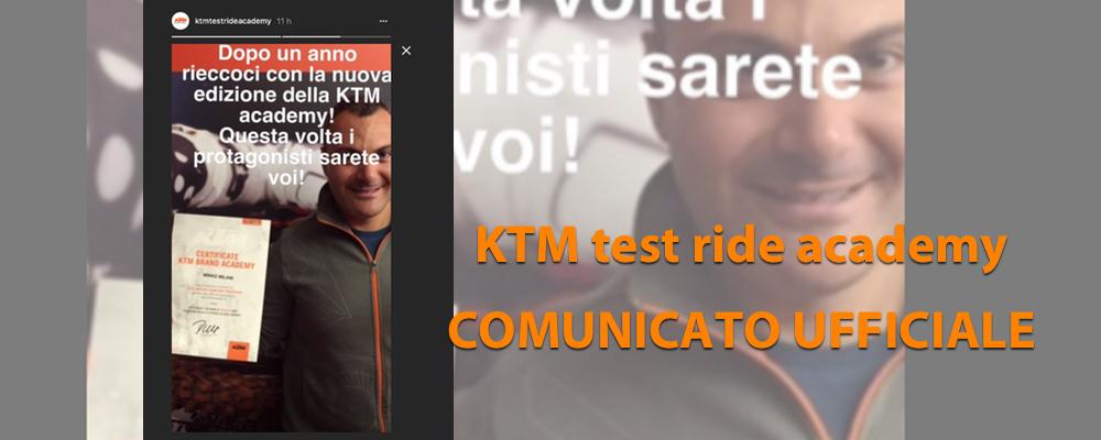 KTM test ride Academy COMUNICATO UFFICIALE